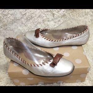 Born Leather Ballet Flats Silver w/ Brown Trim